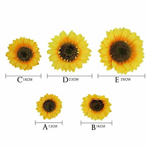 ✿Huhu833 Gefälschte Seide künstliche Sonnenblume Flower Heads Bouquet Floral Garden Home Decor Wohnaccessoires & Deko