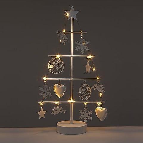 Kleiner Weihnachtsbaum aus Metall mit LED-Beleuchtung & Timer - Weihnachtsdeko mit Engel, Sterne, Schneeflocken und Herzen