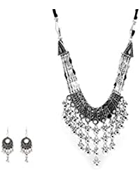 Prita's Oxidised German Silver Party Wear Hand Made Statement Necklace Sets For Girls And Women