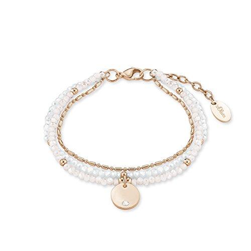 s.Oliver Damen-Armband 17+3 cm verstellbar Edelstahl IP Rose Glassteine weiß rosa Swarovski Kristall