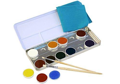 NATUREHOME Kinderschminke natur 12 Farben 2 Pinsel Natürliche Inhaltsstoffe Öko