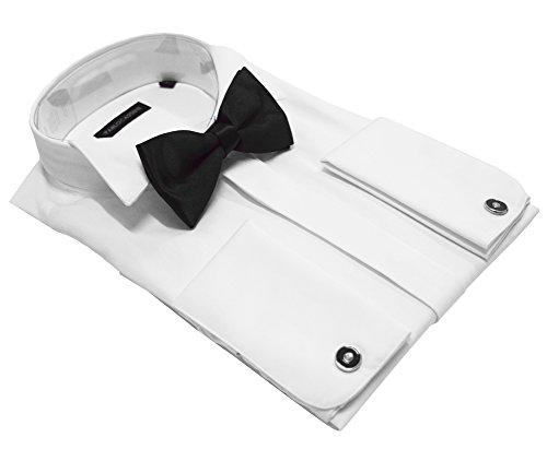 PABLO CASSINI Smokinghemd Weiss mit Manschettenknöpfe und Qualitäts Fliege NEU (3XL)