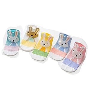 RUOHAN Kinder Socken 5 Paar Kindersocken Baumwollkindersocken Stereo-Langohrhasen Farblich Passend Baumwollbootsocken