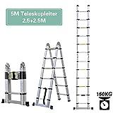 5 M-Multifunktionsleiter, Höhe einstellbar, Anlege-/Schiebe-/Bockleiter in einem, belastbar bis 150 kg, Auszeihleiter aus Hochwertigem Aluminium Leiter, Ein-Knopf-Rückzug Neues Design (2.5+2.5)