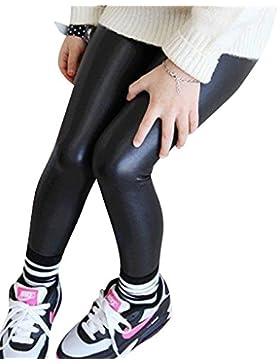 Niña En Mallas Leggings Pu Cuero Artificial Elástico Pantalones Plus Espesamiento Leggins