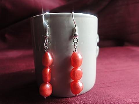 South Seas Baroque Freshwater Red Pearl Drop Earrings