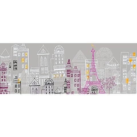 PLAGE 143506 Adhesivo de decoración cabecero de cama-Dibujo Paris, 59 x 160 cm