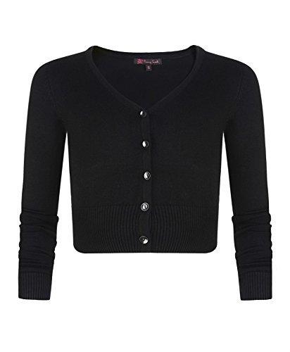Mädchen Langärmelig Bauchfreie Strickjacke Kinder V-ausschnitt Feinstrick Pullover Top - Schwarz, Mädchen, 134-140