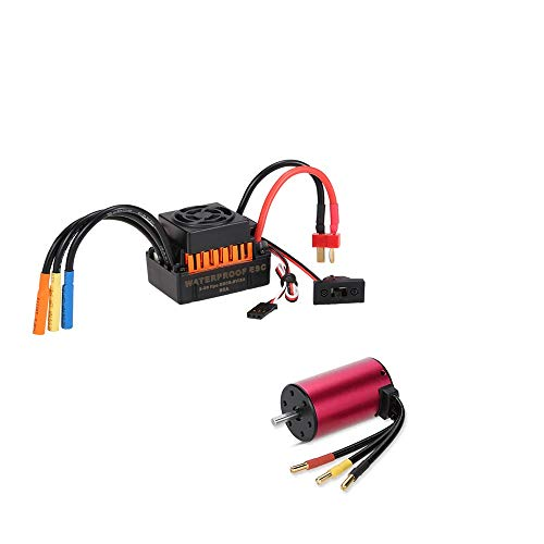 Kesbin Rcharlance S3660 3300KV Brushless Motor Sensorless 5mm with 60A ESC Waterproof Brushless Speed Controller Combo Set Upgrade Power System for 1/10 RC Car Boat