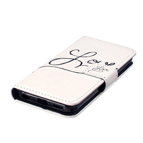 MOONCASE iPhone 5C Coque, [Don't Touch My Phone] Bookstyle Étui à rabat Housse en Cuir Portefeuille de Protection TPU Case avec Béquille pour Apple iPhone 5C Love