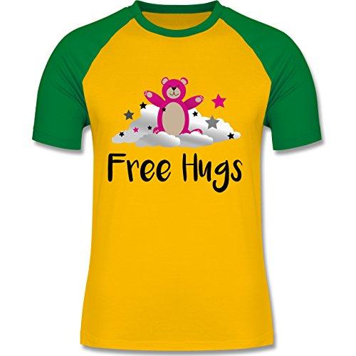 Shirtracer Comic Shirts - Free Hugs - XL - Gelb/Grün - L140 - Herren Baseball Shirt (Baseball Herren Free Hugs)