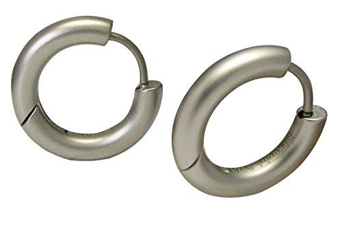 Kikuchi Unisex Klassische Ohrringe Titan- Edelstahl Klapp Creolen Tube Silber Matt 3mm/16mmØ ERTS018 (Titan Für Creolen Männer)
