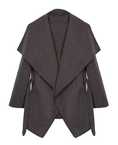 Kendindza Damen Mantel Trenchcoat mit Gürtel OneSize Lang und Kurz (OneSize, Grau Kurz) Kurzer Wollmantel