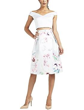Lipsy Mujer Falda De Fiesta De Satén Y Estampado De Flores