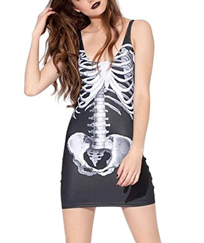EROSPA® Minikleid Skelett Knochen Damen Halloween Skeleton Dress Kostüm Punk Karneval Fasching (Kostüme Für Halloween Punk)