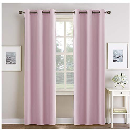 Pony dance doppio di tende bambini ragazze rosa con anelli per camera neonato salotto tessuti ecological spessi morbidi anti zanzare (106 x 210 cm)