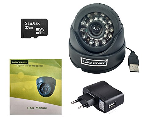 L'AVENIR USB Night Vision CCTV Dome Camera with Memory Card Recording Slot (with 32gb Memory Crad) - Black