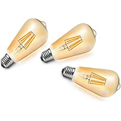 ST64 6W LED Bombilla de Filamento,Bulbo Dorado,E27 Base,MENTA,Bombilla Vintage LED,Lámpara de Hogar,540 LM,Equivalent to 60w Bombillas Incandescentes Blanco Cálido 2300K,220V - 240V,360 Grados de Ángulo de Haz,Pack de 3 Unidades