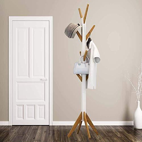 HS-Lighting Holz Garderobenständer Kleiderständer mit 8 Haken, Bambus Gabrderobe Jackenständer, Hoch: 178,5cm