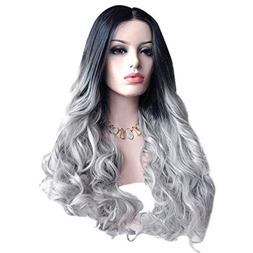 Gongdi extension clip capelli veri, parrucca in pizzo, parrucca da donna europea e americana, sfumatura grigia extension capelli,parrucca a pelo medio lungo