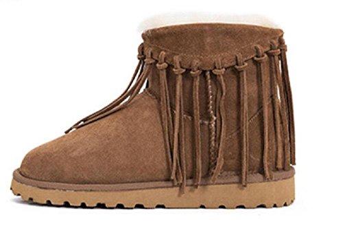 Pelle di pecora stivali caldi basso tubo scarpe nappa delle donne chestnut