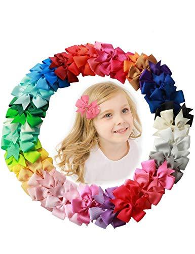 Haar Bögen Clips für Baby Mädchen Kinder bunte süße Haarspangen Alligator Clip Grosgrain Ribbon Stirnband(40 Stück) -