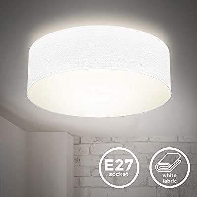Plafoniera in tessuto bianco, attacco per lampadina E27 non inclusa, Lampada da soffitto diametro 30cm, Lampadario moderno per salotto o camera da letto, IP20