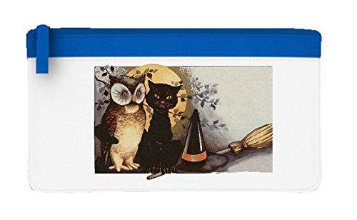 Halloween design retrò gatto, gufo, Cappello da strega e Broomstick Astuccio piatto Misura unica Blue