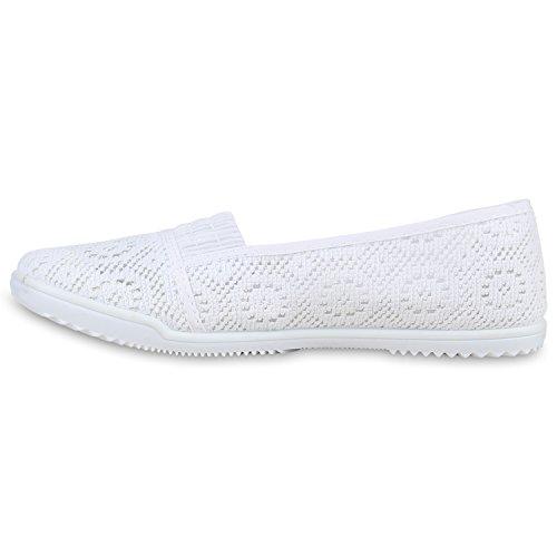 Espadrilles pour femme Dentelle optique crochet Chaussures strass métallique | Flandell® Weiss Weiss