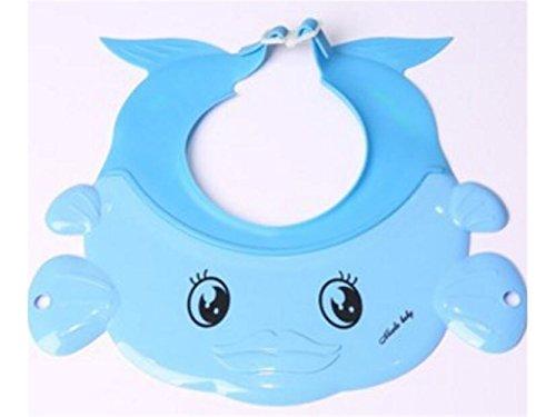 QHDZ Bad Wasserdichtes justierbares Kinderwäsche-Haar-Hut Kindershampoo-Kappe für Badezimmer (blau)