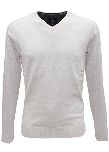TOM TAILOR Herren Pullover Basic V-Neck Sweater Beige (Snow White Melange 2818)
