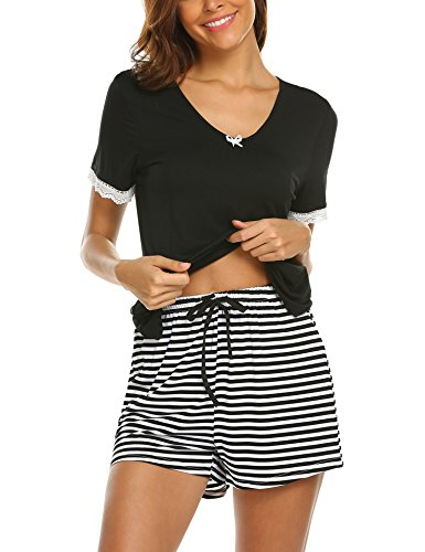 Unibelle Damen Schlafanzug Hausanzug Patchwork Kurzarm Tops mit elastischen Taille Shorts Pyjama Nachtwäsche Sets -