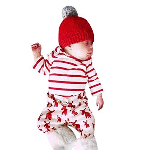 ZEZKT-Baby Sleepwear Kinder Schlafanzug Pyjama Hausanzug Sleepwear Weihnachten Nachtwäsche Familie Baby Outfits Set Junge Mädchen Langarmshirt Kleidungsset Herbst und Winter (3Monate, Rot)