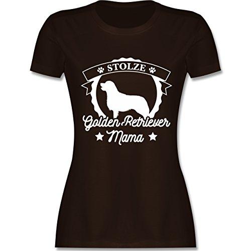 Shirtracer Hunde - Stolze Golden Retriever Mama - Damen T-Shirt Rundhals Braun