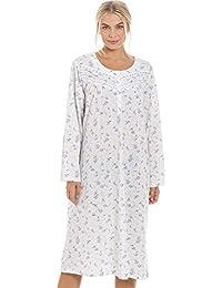 Camille Womens Classic Blue Rose Print Long Sleeve Nightdress 4e3514c3a