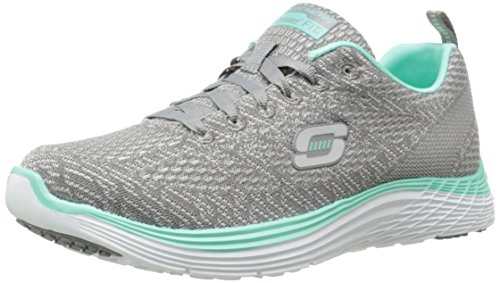Skechers Damen Valeris Sneakers Gray Mesh/Mint Trim