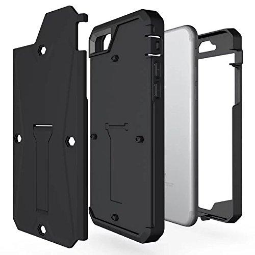 """iPhone 7 Hülle,Lantier schroffer Behälter Doppelschicht hybride volle Körper schützende harte Fall Abdeckung mit Kickstand und eingebautem Schirm Schutz für iPhone 7 2016 4.7"""" Argent Tank Black"""