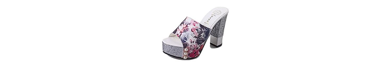 DANDANJIE Zapatillas de Señoras PU de Tacón Alto Moda Mujeres Zapatos Impresión Sexy Elegante Zapatos Al Aire... -