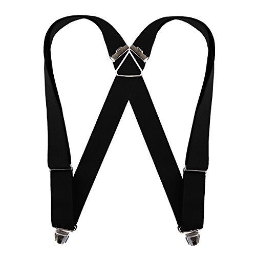 Biclip Hosenträger schwarz, Körpergröße:ab 1.80 m - 130 cm - Extra Breiter Falt -