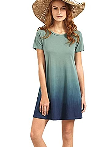 ROMWE Damen Casual Tie-Dye Strandkleid Kurzarm Baumwolle A-Linie Ombre Batik Kleid Blau (XXL, Blau)