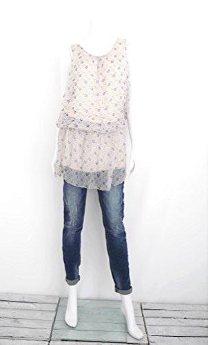 Damen Longbluse Träger Top Tunika Minikleid ärmellos Blumen S M 36 38 40 (8183) creme beige ecru blau