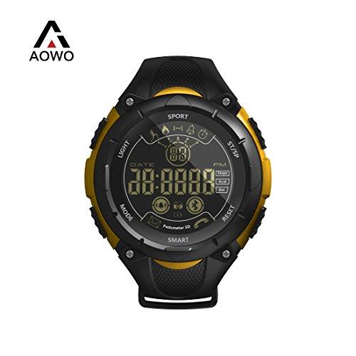 AOWO X7 Bluetooth Smartwatch Männer Digital Smart Uhr IP68 Wasserdicht 5ATM Anruf SMS Benachrichtigung Sport Smartwatch mit LED-Hintergrundbeleuchtung für Android IOS iPhone (Orange)