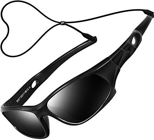ATTCL Kinder Sonnenbrille TR90 Polarisierte Sportbrille für Jungen und Mädchen Alter 3-10 5025 black-black