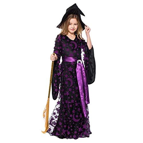 Demino Mädchen Mond-Stern-Fly-Hexe-Kostüm-Kleid-Hut-Kappen-Partei Halloween Cosplay Kleidung lila 3 (Molkerei Mädchen Kostüm)