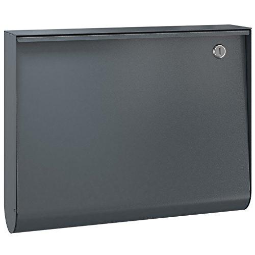 Serafini U-Box Design-Briefkasten anthrazit-grau (RAL 7016), Wand-Postkasten deutsche Markenqualität dunkelgrau 10 Liter, Farbe :7016 matt (feinstruktur)