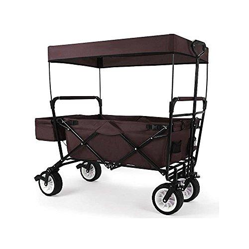 Preisvergleich Produktbild FUXTEC faltbarer Bollerwagen JW-76C braun klappbar mit Dach, Vorderrad-Bremse, Strand-Reifen und Lenkdeichsel, Hecktasche, für Kinder geeignet - Das Original mit Qualität!