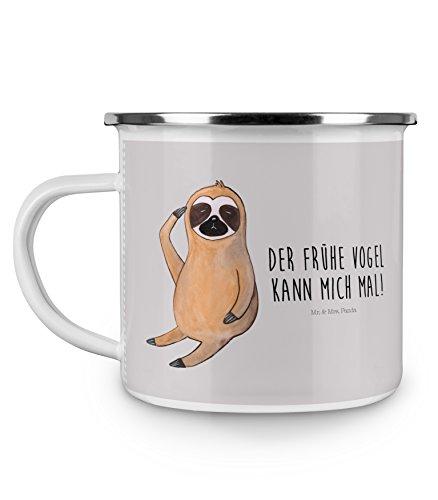 Mr. & Mrs. Panda Emaille Tasse Faultier Vogel zeigen - 100% handmade in Norddeutschland - Campingbecher, Faultier, Kaffeebecher, Camping, Metalltasse, faul, früher Vogel, der frühe Vogel, , Morgenmuffel, Spinner, Becher