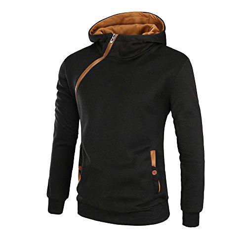 Herren Kapuzenpullover Hoodie Kapuzen-Sweatshirt Kapuzenpulli Zip-Hoodie Schwarz Gelb M (Cashmere-zip-kapuzen-pullover)