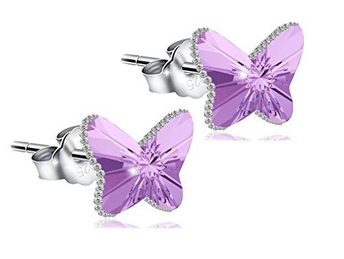 Imagen de papoly®,pendientes mariposa swarovski crystal 'magic of love' plata de ley 925, refleja diferentes tonos el mover, juego de pulsera macramé lila pendientes
