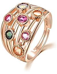 colorfey 925plata de ley oro rosa Electroplated Gemstone anillos hecho a mano con piedra turmalina regalo perfecto de calidad de lujo de moda para las mujeres